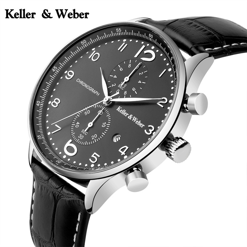 Keller & Weber Mens Chronograph Wrist Watch 30ATM Water Resistant Genuine Leather Band Strap Stop Writswatch