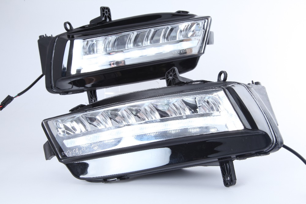 eOuns led DRL daytime running light fog lamp assembly for Volkswagen VW golf7 MK7, LED chips + led bar version 2011 2013 vw golf6 daytime light free ship led vw golf6 fog light 2ps set vw golf 6