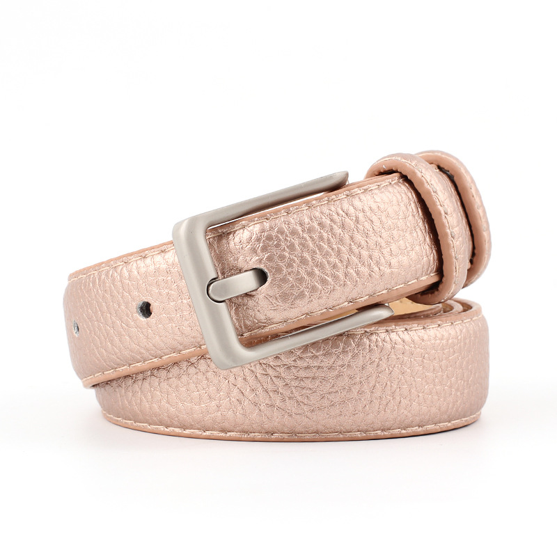 2018 New Designer Ladies Gold Pink Black White Leather Belt Female Woman Wide Buckle Waist Belts for Women Jeans Pants Trousers