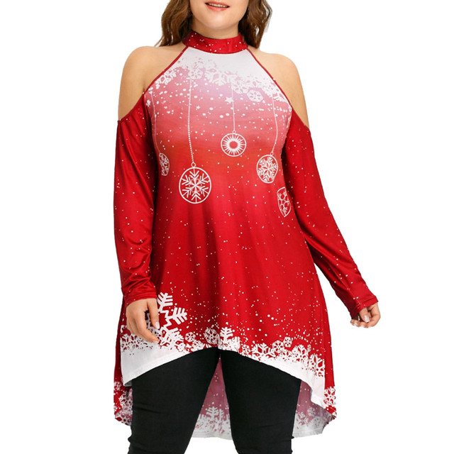 Plus Size 4xl Womens Tops And Blouses Christmas Cold Shoulder Long