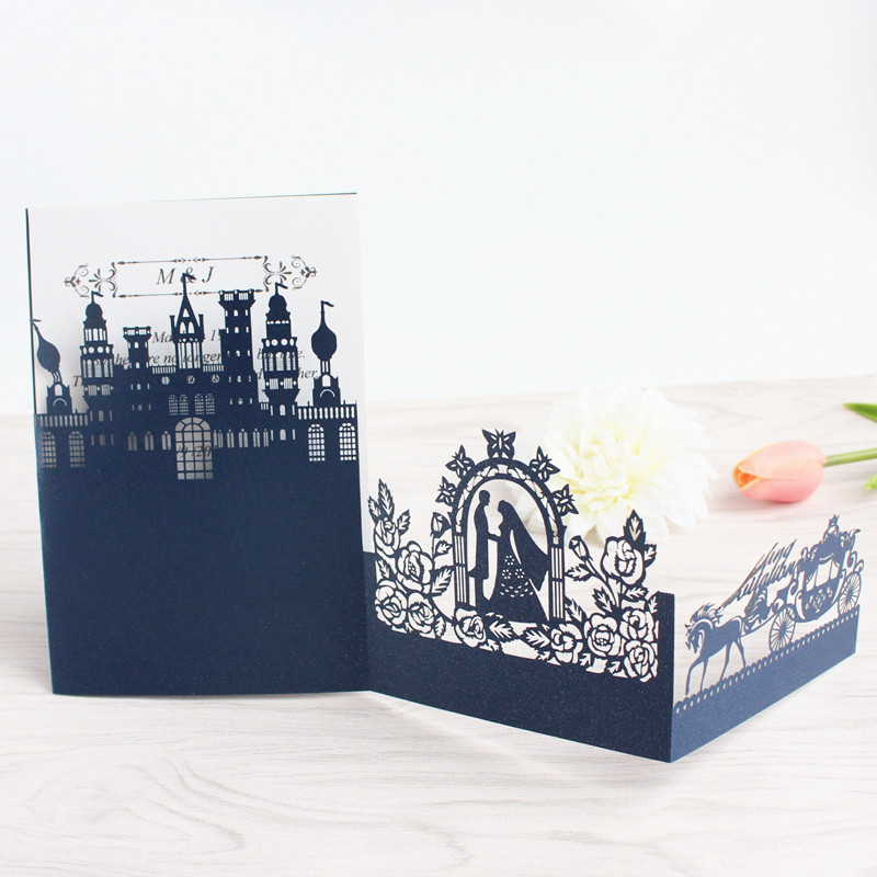 3D wedding invitations castle pumpkin coach laser cutting invite card blue pink white party supply customized