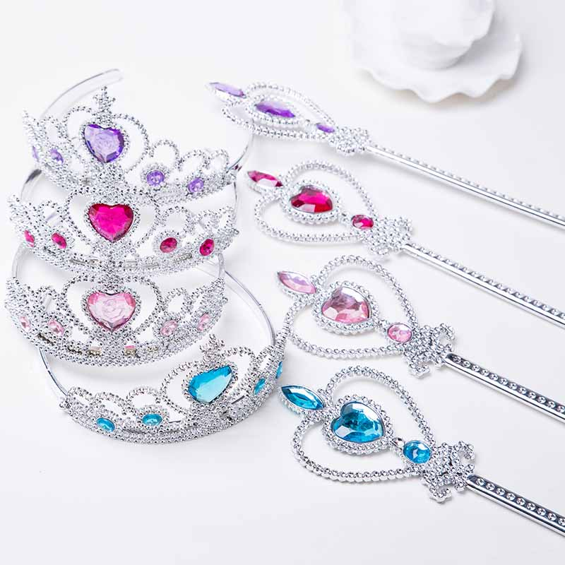 2 PCS Princess Crown Magic Wand Beauty Toys For Girls Party Cosplay Children's Makeup Set Pretend Play Games Jewelry Accessories image