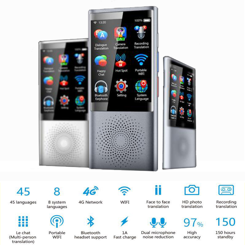 Voice translator support 75languages 1250mah touch screen sim card global travel assistant electronic dictionary Multi-language