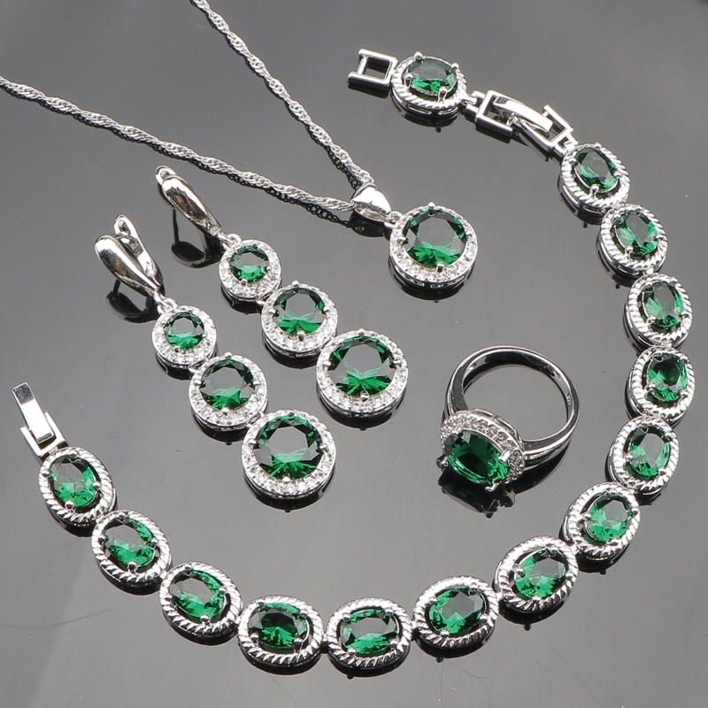 Bridal Jewelery Women Sliver 925 Costume Jewelry Sets Green Zircon Bracelet Pendant Necklace Rings Earrings With Stones Gift Box