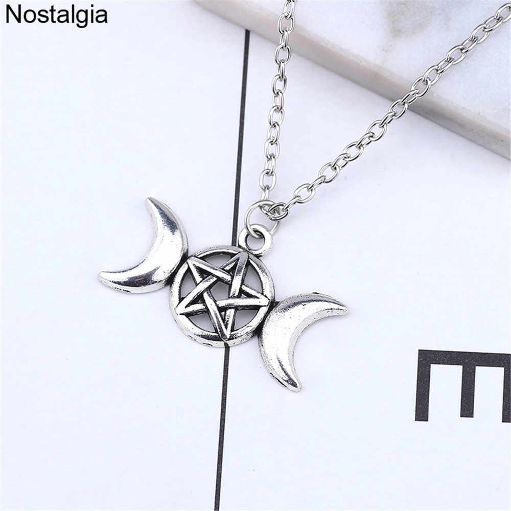 Ностальгия Wiccan Тройная Луна кулон богини ожерелье Wicca языческая пентаграмма ювелирные изделия с изображением ведьмы