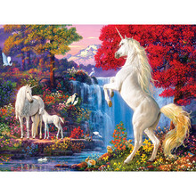 Two white horse Full drill diamond embroidery 3d diamond cross stitch fashion diamond mosaic pictures of rhinestones (2)YY(China)