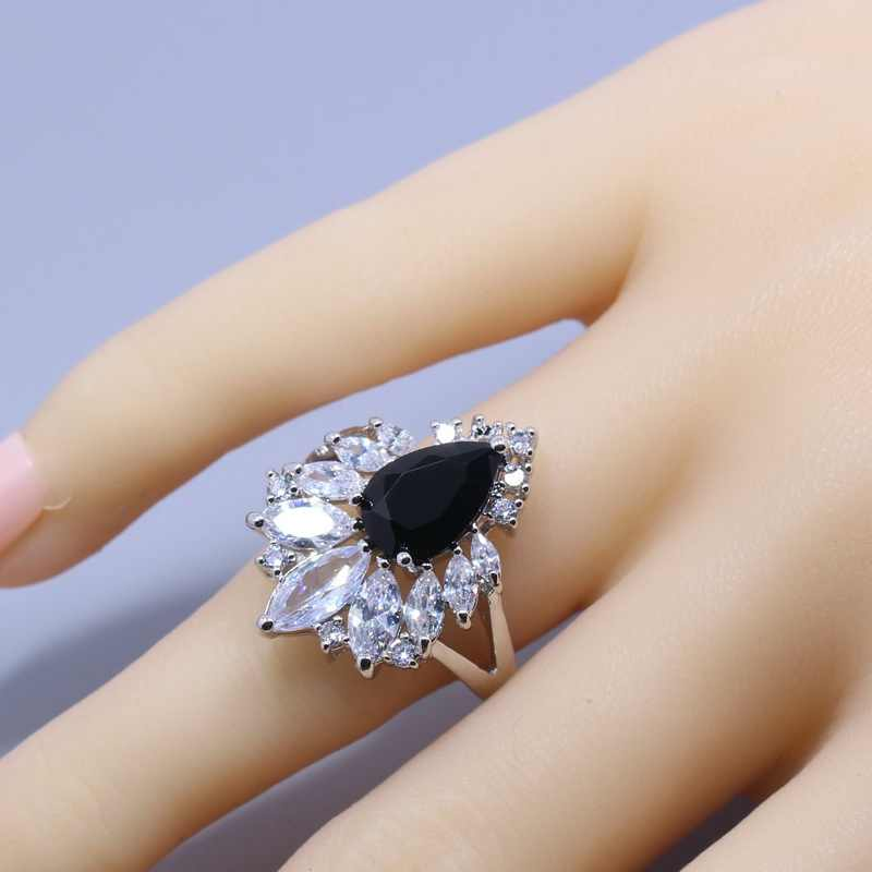 Austria kryształ czarny cyrkon zestaw biżuterii 4 sztuki 925 srebrny pierścień naszyjnik bransoletka z wisiorkiem dla kobiet pudełko