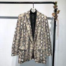 Spring Snake Print Blazer Women Vintage Suits Blazers Woman Long Sleev
