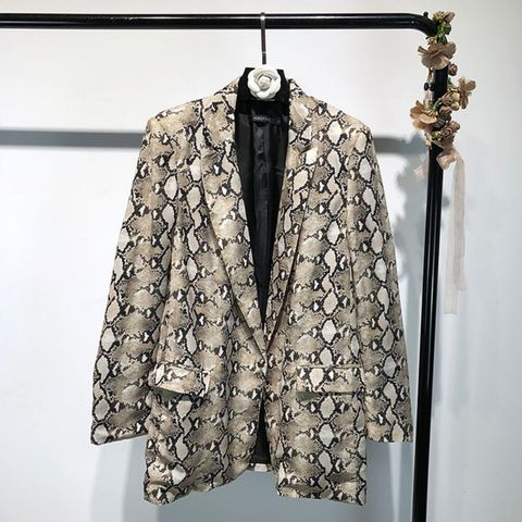 Spring Snake Print Blazer Women Vintage Suits Blazers Woman Long Sleeve Pocket Leopard Office Lady Jackets Pakistan