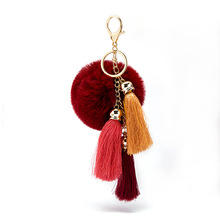 New Arrival 2019 Cute Rabbit Fur Ball Key Chain Keychain llaveros mujer Fluffy Pom Tassel Car Bag Ring