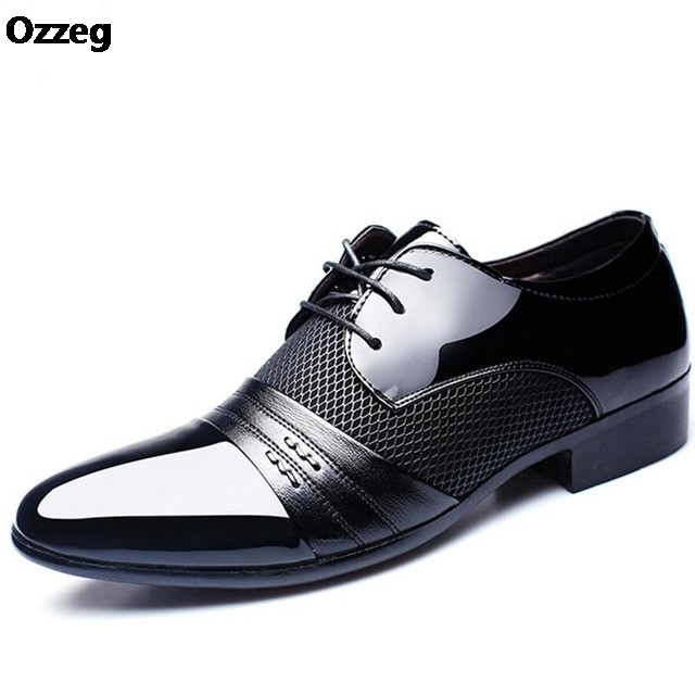 Men's Dress Shoes Fashion Leather Men Business Flat Shoes Black Brown Breathable Men Formal Office Working Shoes Big Size 38-48 fashion horse hair tassels leather leopard pattern flat shoes black brown pair 37