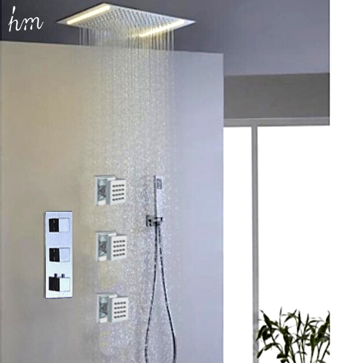 ⑥Led Shower Head With Thermostatic Shower Mixer Shower Jets ...