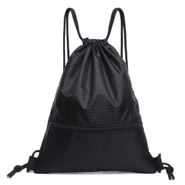 Black Patterned Drawstring Sackpack