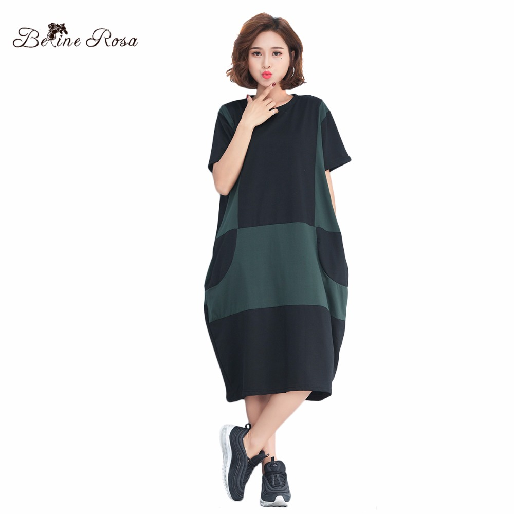 BelineRosa 2018 Casual Women Clothing Hit Color Shot Sleeve O Neck Comfort Cotton Shirt Dresses for Women TYW00721