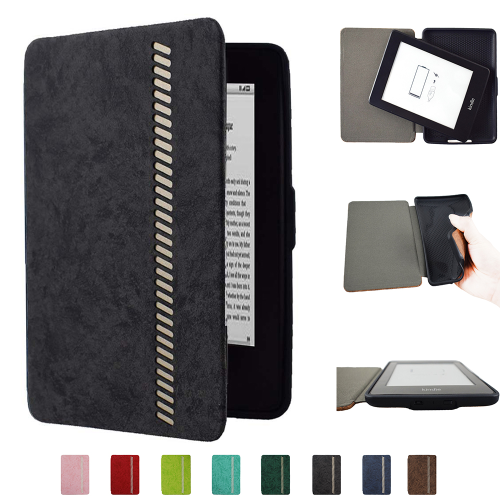 Leather TPU Silicone cover for Kindle Paperwhite 1 2 3 (2012 2013 2015 Release modle:DP755DI) Ultra Slim eReader Cover case image
