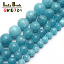 Natural Stone Beads Blue Chalcedony Round For Jewelry Making 15inches 4/6/8/10/12mm Free Shipping