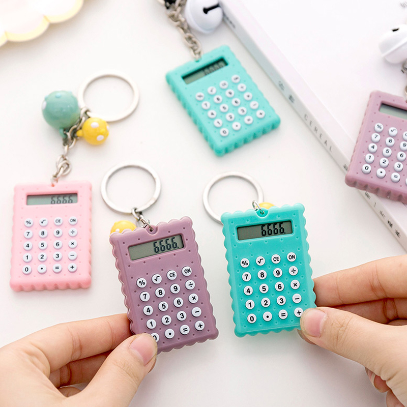 Cartoon Biscuits Shape Mini Calculator Key Holder Cute Portable Student Pocket Calculator With Keychain Bell Pendant Girl Gifts
