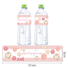Pink Donut Water Bottle Labels Sweet Party Decor Baby Shower Girl Supplies Kids Birthday Stickers