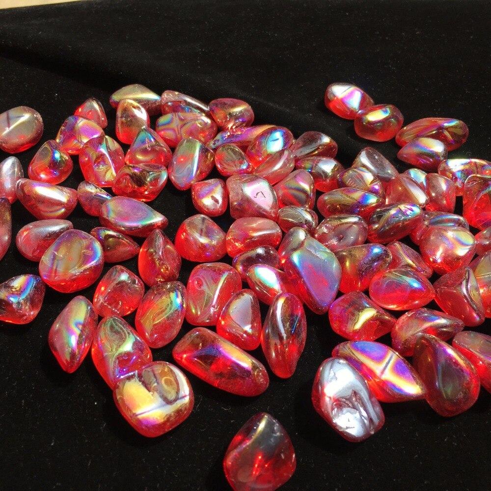 Rainbow aura Tumbled stone quartz crystal point healing 100g