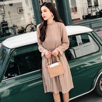 861a08ef6e4fcca 2019 Новое весенне-осеннее Повседневное платье с высокой талией и поясом  Модные женские шифоновые платья с длинным рукавом платье с воротник.