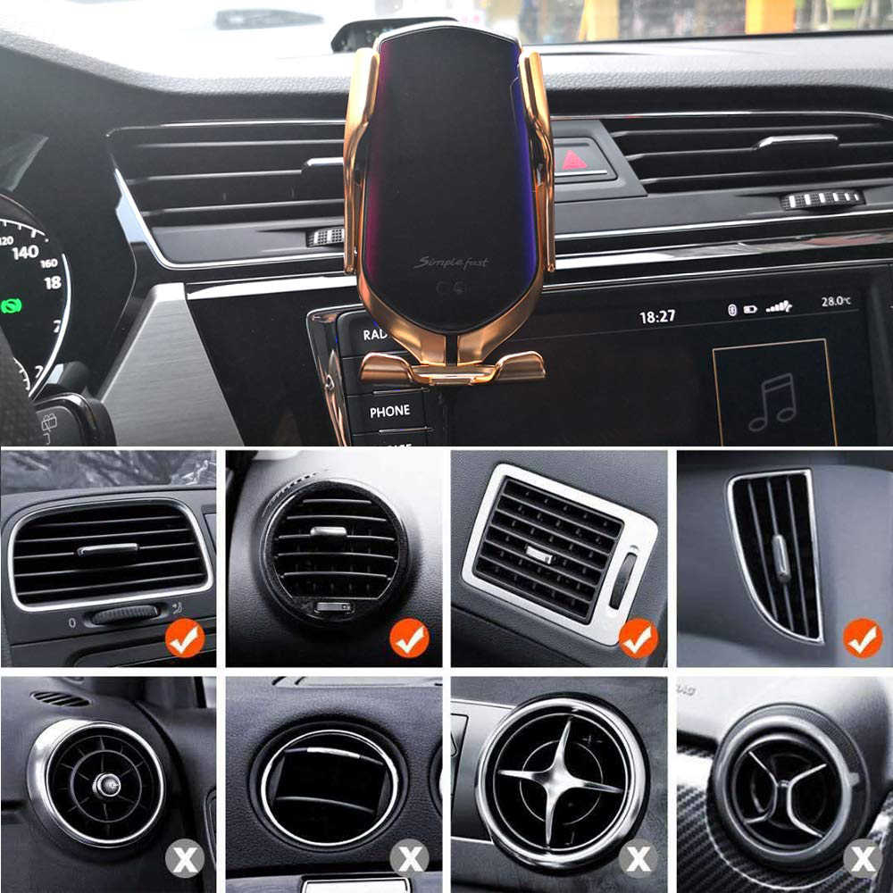 Dengan Qi Wireless Charger Mobil 10W Cepat Pengisian Pemegang Kompatibel Otomatis Menjepit Cepat Pengisian Ponsel Pemegang Mount untuk Ponsel Pintar