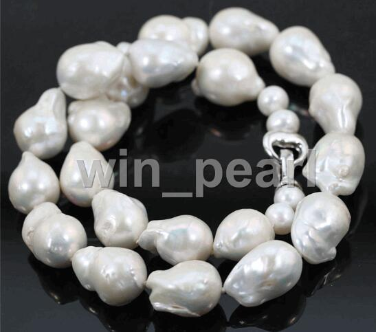 19 AAA + + 15 25 мм огромный белый настоящая жемчужина Цепочки и ожерелья БАРОККО Кеши пресноводный жемчуг