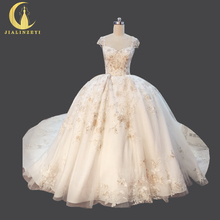 JIALINZEYI Real Picture Cap Sleeves Champagne Lace Sliver Ball Gown Cathedral Long Train Bridal Wedding Dresses Wedding Gown