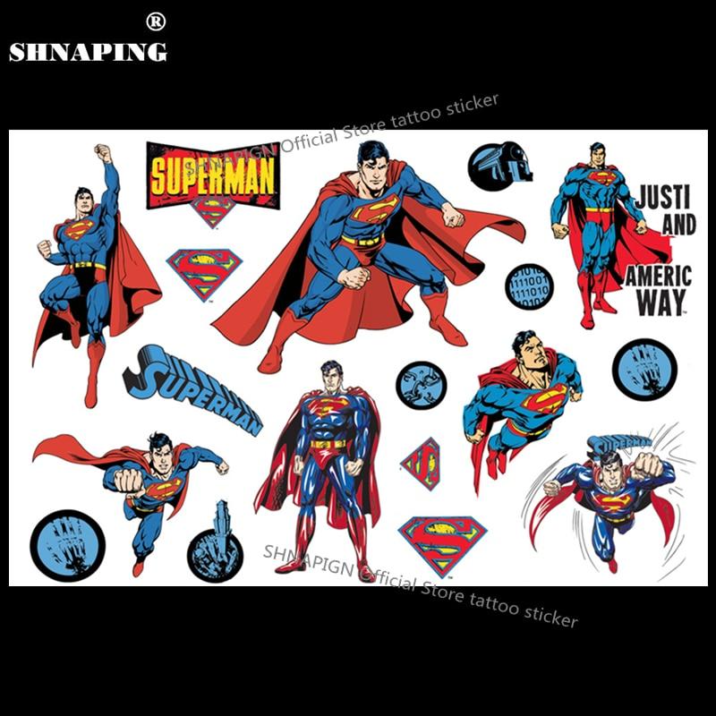 Classic Superman Child Temporary Tattoo Body Art Flash Tattoo Stickers
