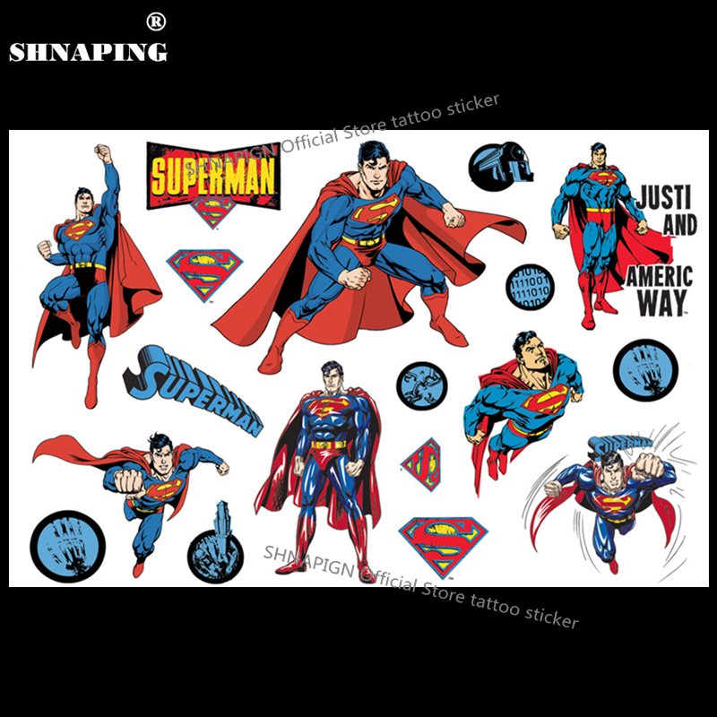 SHNAPIGN Klasik Supermen Kanak-kanak Temporary Tattoo Body Art Flash Pelekat Tatu 17 * 10cm Pelindung Henna Tatoo Styling Sticker