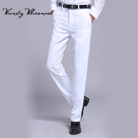 Men S White Suit Separate Pant Flat Front Straight Slim Fit Business Straight Male Trousers Thin