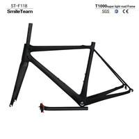 SmileTeam 2017 New Super Light T1000 Full Carbon Road Bike Frame UD Matte Carbon Road Bicycle
