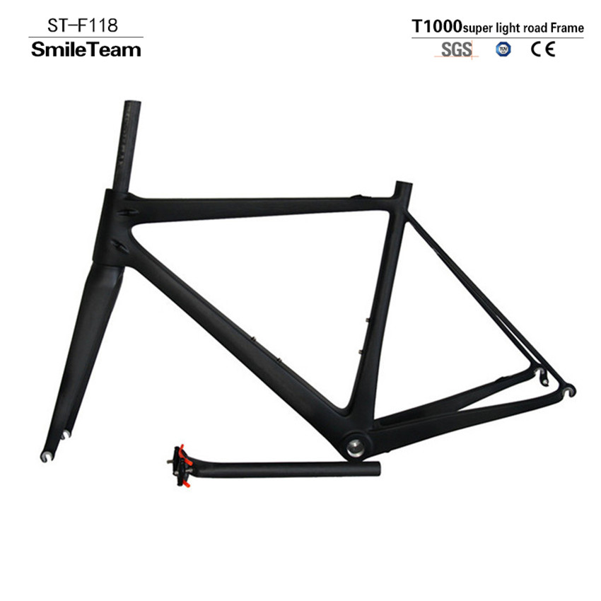 SmileTeam 2017 New Super Light T1000 Full Carbon Road Bike Frame UD Matte Carbon Road Bicycle Frame With Fork + Seatpost + Clamp sobato 650b full carbon mtb frame 27 er frame with fork ud matte bike frame fork handlebar 14 5 16 17 19
