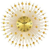 Fashion Golden Sun Wall Clock Iron Art Modern Living Room Clocks JJT 9100 75