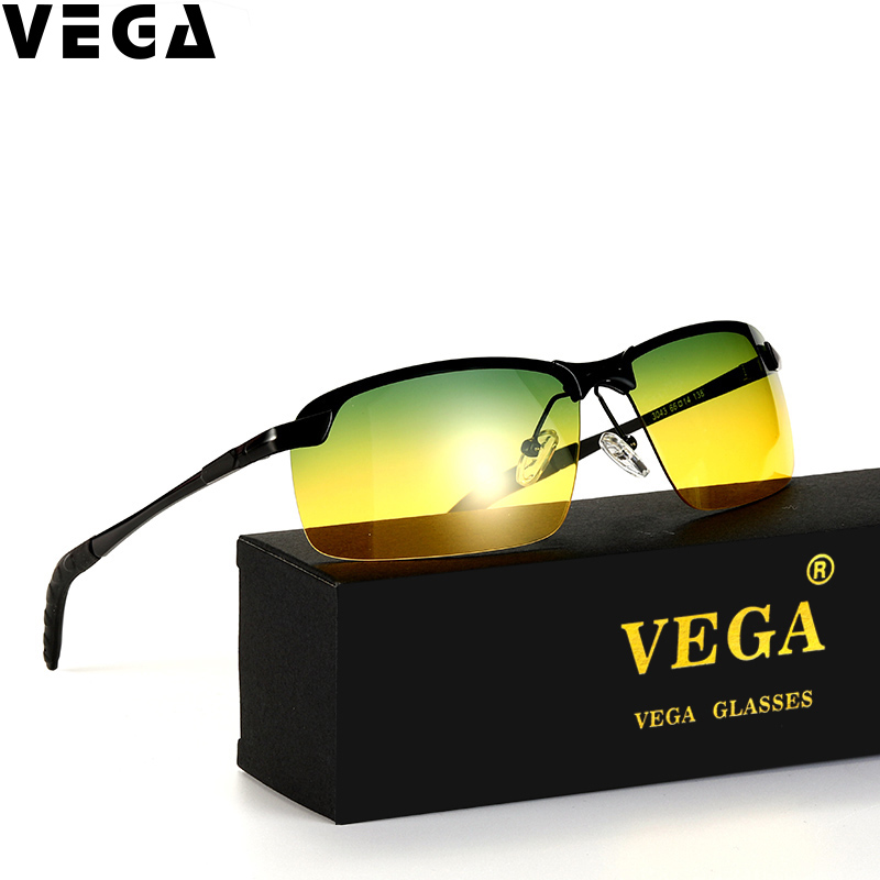 VEGA Polarized Yellow Driving Sunglasses at Night High Quality HD Vision Day Night Sunglasses Polarized Safety Glasses With Box