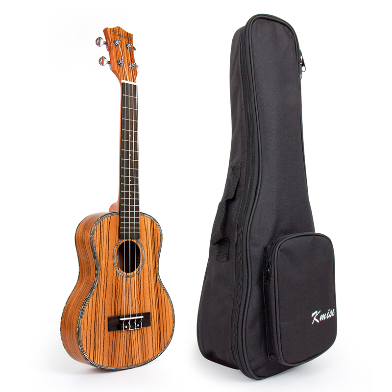 Kmise Travel Ukulele Tenor Thin Body Ukelele Kit Zebrawood 26 inch 18 Fret Uke 4 String Hawaii Guitar with Gig Bag ukulele bag case backpack 21 23 26 inch size ultra thicken soprano concert tenor more colors mini guitar accessories parts gig