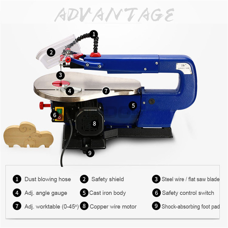 MQ5II 16inch Scroll Saw RCIDOS Mini table saw/Desktop DIY wood Curve ...