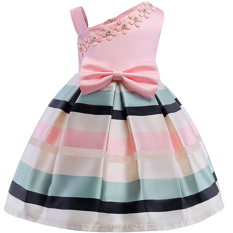 Christmas Flower Dress Girl Princess Costume Dresses Girl Party Stripe Tulle Kids Children Prom Gown Vestido Formal Dress Bow girl party dress christmas dress for girl 2017 summer formal girl flower gir dresses junior girls prom gown dresses baby clothes