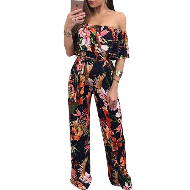 250701d7d4d Black Floral Print Jumpsuit Summer Style Women Sexy Ruffles Slash Neck  Strapless Jumpsuits Casual Straight Long Pants Overalls