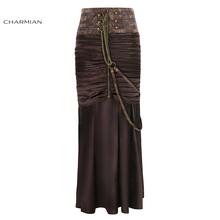 Charmian Women's Steampunk Gothic Vintage Skirt Retro Long Maxi Skirt Sexy Party Black Brown Satin Skirt with Zipper