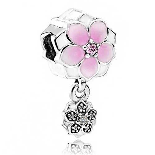 Esmalte Hamsa Mão Asas Flores Contas de Cristal Do Floco De Neve Encantos Fit Pandora Originais Pulseiras para As Mulheres Bijoux Jóias Aniversário