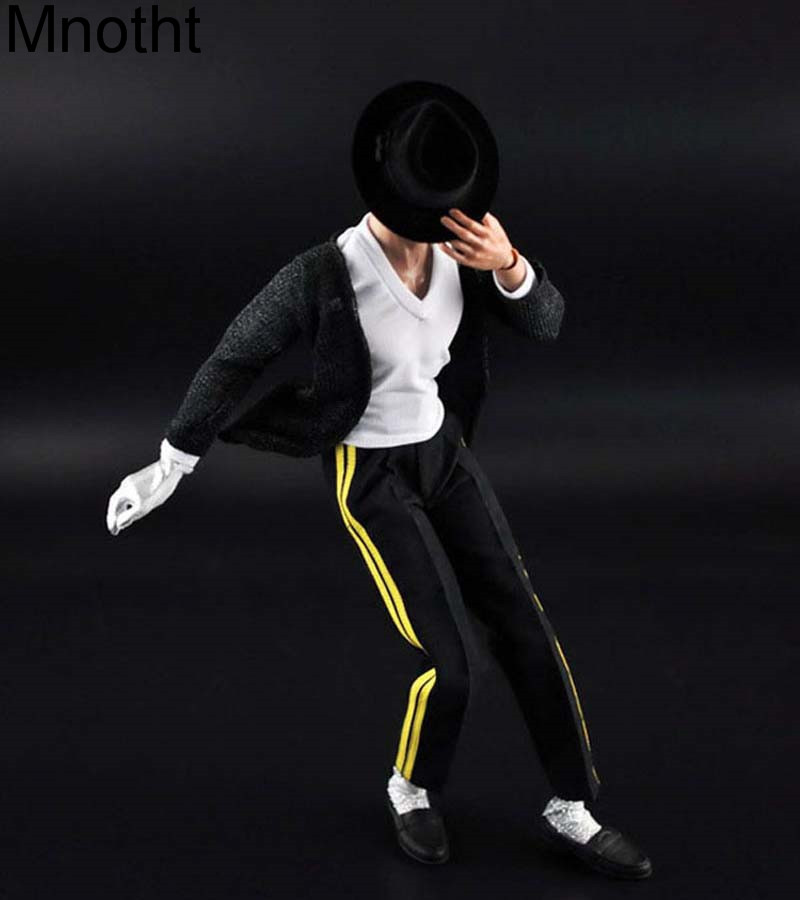Mnotht 1/6 Michael Jackson Dance Costume With Hat+ White T Shirt +Black Coat+Pants+Shoes+Gloves for 12in Action Figure Toys l3