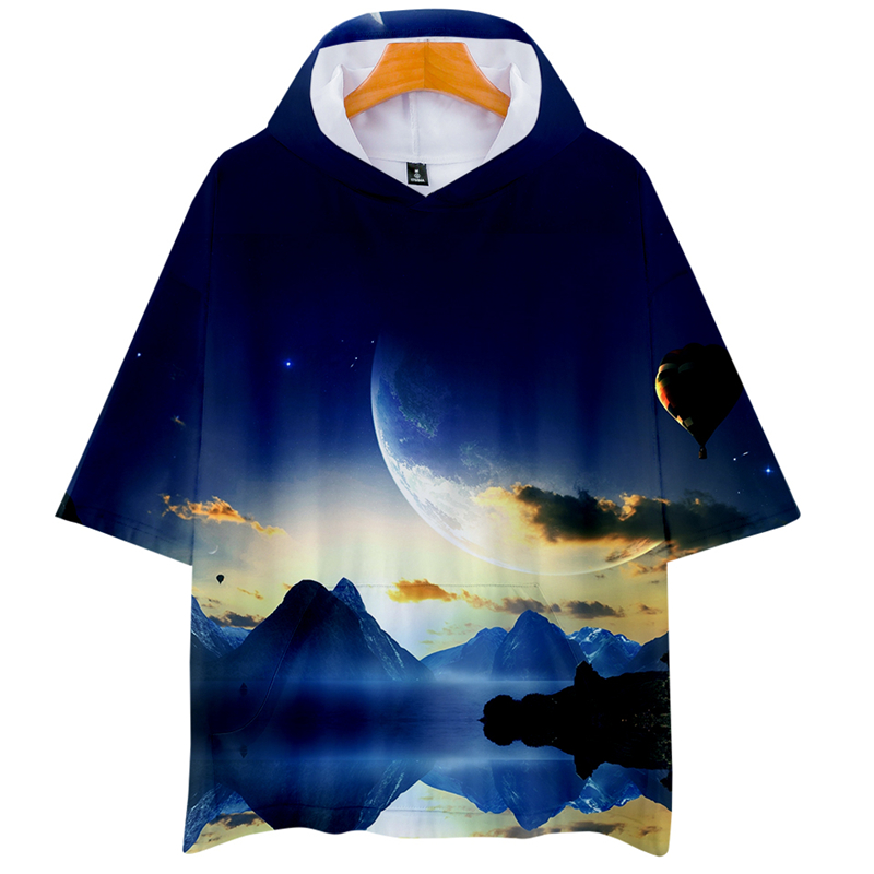 LUCKYFRIDAYF 3D LOVE YOURSELF ANSWER Starry Sky Hoodies Men/Women Clothes Short Sleeve Hooded Hip Hop Tops Plus Size