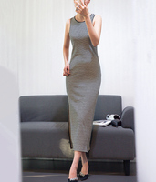 Micsoni Spring 2018 New Stripe Basic Edge Slim Sex Sleeveless Knit Gold Line Sweater Dress Black