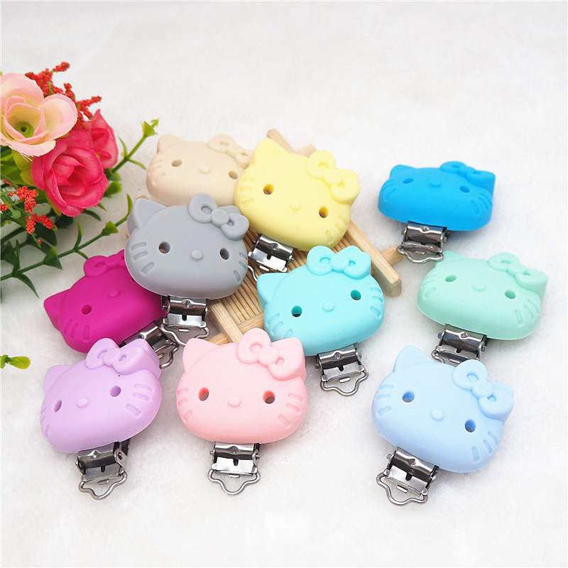 Chenkai 10PCS Silicone Hello Kitty Cat Pacifier Clips DIY Baby Animal Nursing Dummy Teether Chain Holder Toy Clips BPA Free