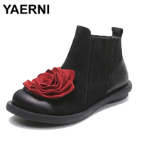 YAERNI 2017 Big Red Flower Women Boots Cow Suede Round Toes Ankle Boots Flat Heels Handmade