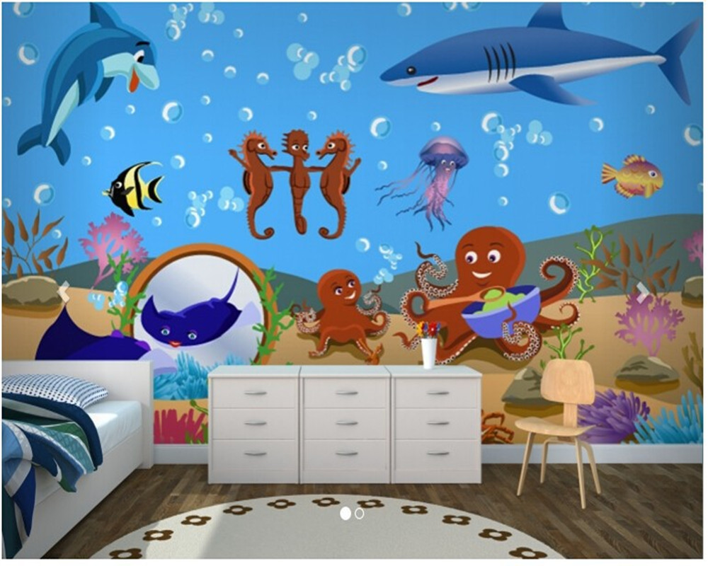 Custom papel de parede infantil, Under the Sea Childrens which Mural for children room living room TV wall vinyl papel DE parede custom papel de parede infantil space shuttle orbiting earth 3d cartoon mural for children room bedroom wall vinyl wallpaper