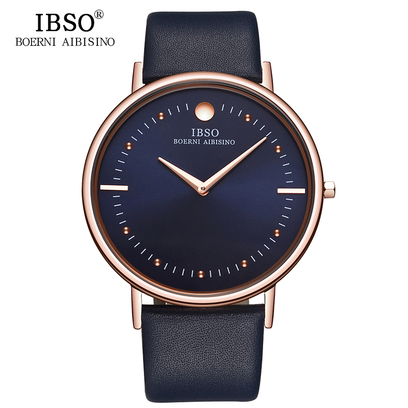 IBSO 2018 Top Luxury Men Watches 7.6mm Ultra-Thin Big Dial Men Business Quartz Watch Men Genuine Leather Strap Relogio Masculino