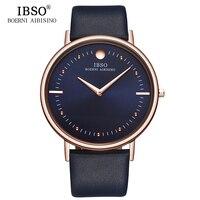 IBSO 2018 Top Luxury Men Watches 7 6mm Ultra Thin Big Dial Men Business Quartz Watch