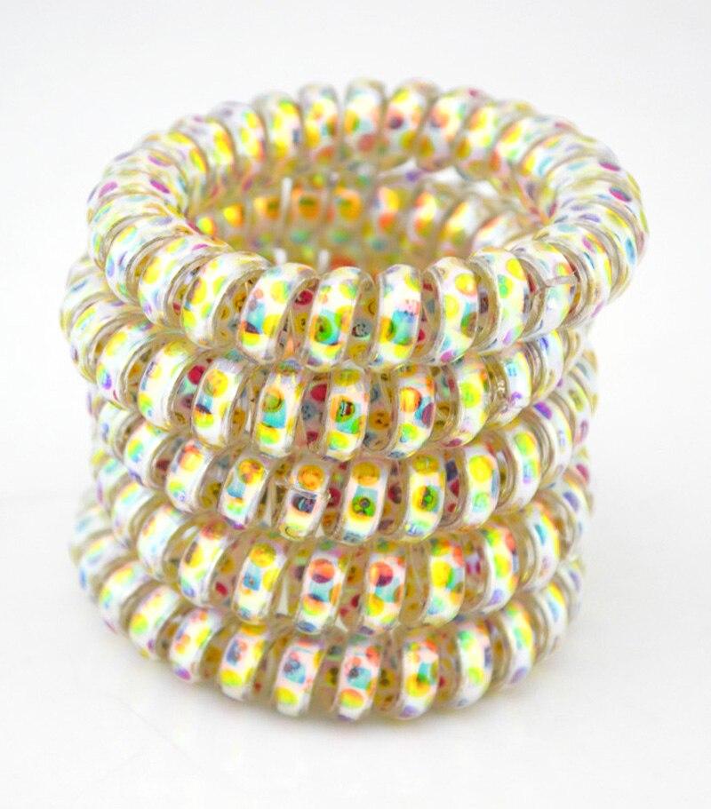 5.5cm Lot 5Pcs Dot Colorful Hair Accessories Telephone Cord Phone Plastic Strap Hair Band Hair Rope Hair Ties Headbands