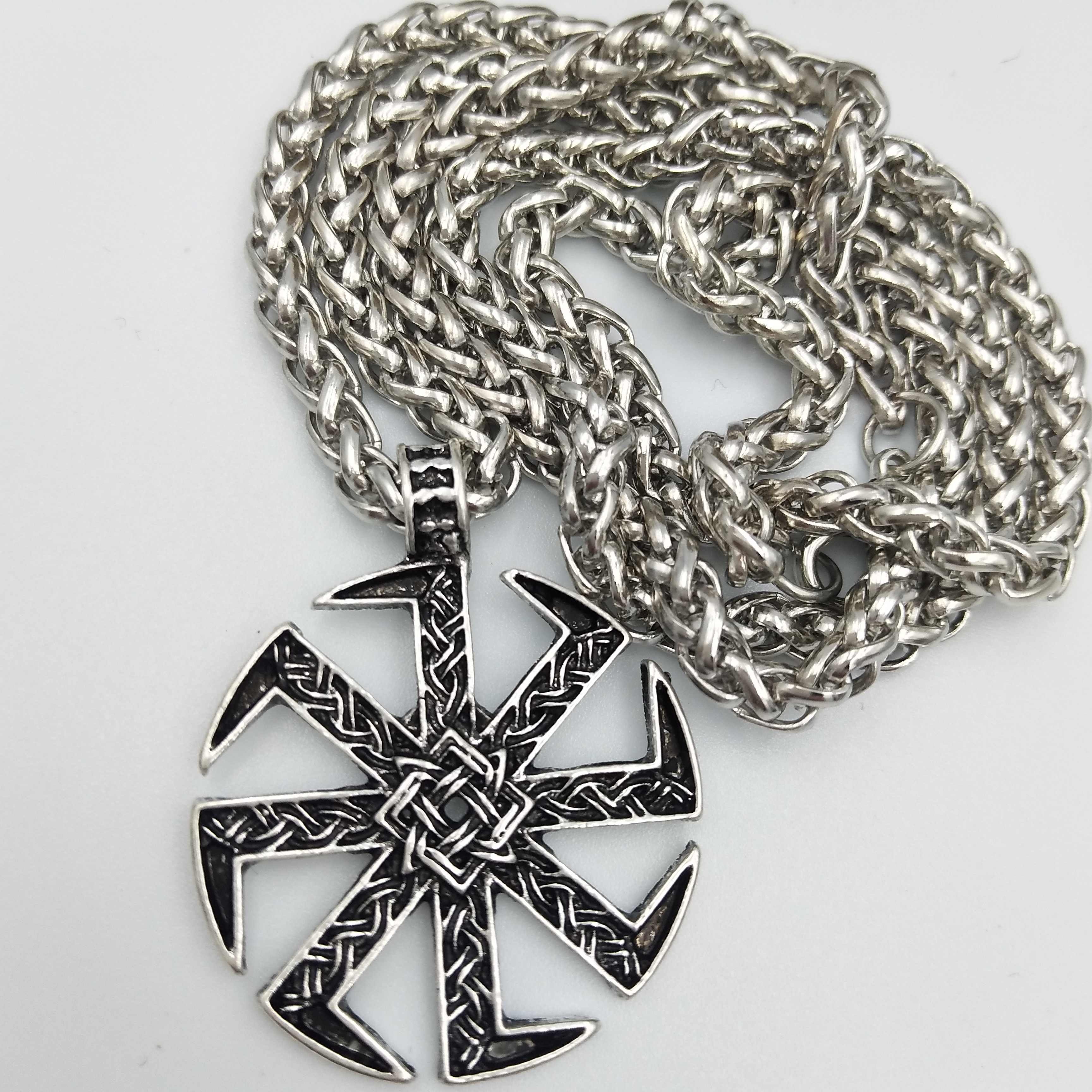 Slavic Kolovrat Amulet Pendant Pagan Sunfiower Talisman Norse Jewelry Necklace & Pendants Slavic Symbol Silver Necklace Freeship